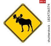 moose crossing warning road...   Shutterstock .eps vector #1824736574