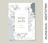 elegant hand drawn floral... | Shutterstock .eps vector #1824737984