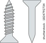 icon of screw and nail. outline ...