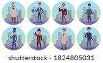 set characters of victorian...   Shutterstock .eps vector #1824805031