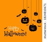 happy halloween hanging... | Shutterstock .eps vector #1824810671