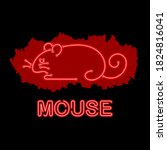 image of mouse icon in neon... | Shutterstock .eps vector #1824816041