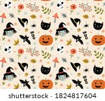 funny pattern for halloween... | Shutterstock .eps vector #1824817604