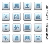 education icons on blue buttons. | Shutterstock .eps vector #182488484