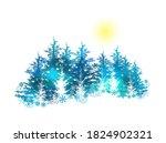 merry christmas. winter forest. ...   Shutterstock .eps vector #1824902321