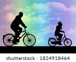father and daughter on a bike. | Shutterstock . vector #1824918464