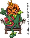 cartoon pumpkin king sitting on ... | Shutterstock .eps vector #1825023917