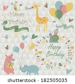 happy birthday greeting set... | Shutterstock .eps vector #182505035