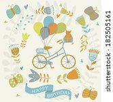happy birthday greeting card... | Shutterstock .eps vector #182505161