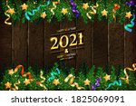 gold numbers 2021 on a wooden... | Shutterstock . vector #1825069091