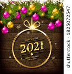 gold numbers 2021 on a wooden... | Shutterstock . vector #1825072547