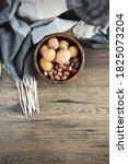 Hazelnuts And Walnuts In A...