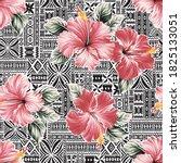 pink hibiscus flower with... | Shutterstock .eps vector #1825133051