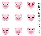 set of cute pig emoticons.pig... | Shutterstock .eps vector #1825145297