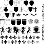 set of shields and emblems | Shutterstock .eps vector #1825159157