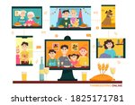 thanksgiving online. people... | Shutterstock .eps vector #1825171781