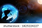 Vector. Solar system. Realistic 3D planet Earth in the rays of sunlight. Cosmic nebulae, infinity, stars and the Sun. Global social network.  Abstract blue background. Bokeh. - stock vector