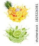 set of fruit juice splash.... | Shutterstock .eps vector #1825226381