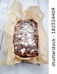 Small photo of ?ake decorated with sugar and almonds. Selected focus on the front of the cake