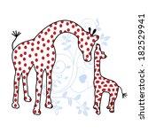 mom and baby giraffe  | Shutterstock .eps vector #182529941
