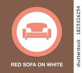 red sofa on white icon   simple ...