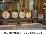 Old Wooden Barrels In Interior...