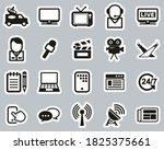tv station icons black   white... | Shutterstock .eps vector #1825375661