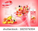 fresh fruits and forest berries ... | Shutterstock .eps vector #1825376504