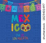 skull and mexico day of the... | Shutterstock .eps vector #1825401497