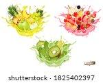 set of fruit juice splash.... | Shutterstock .eps vector #1825402397