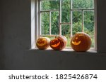 Halloween Pumpkins On White...