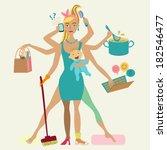 super mother with newborn baby  ... | Shutterstock .eps vector #182546477