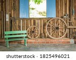 Old Colorful Bench And Old...