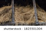 Dry Hay Stored In A Barn On A...