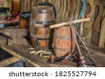Old Wooden Barrels On The Tabl...