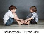 portrait of two happy cute... | Shutterstock . vector #182556341