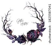 Watercolor Floral Gothic Wreath ...