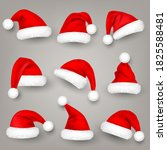 christmas santa claus hats with ... | Shutterstock .eps vector #1825588481