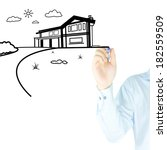 home and house drawn by human... | Shutterstock . vector #182559509