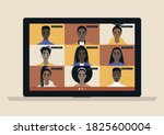 conference video call  remote... | Shutterstock .eps vector #1825600004