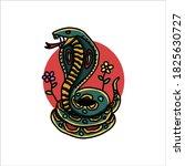 happy cobra tattoo vector design | Shutterstock .eps vector #1825630727