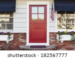 A Red Front Door Of An American ...