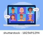 virtual group meeting being... | Shutterstock .eps vector #1825691294