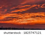 A Red Sunset Illuminated By The ...