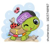 cute cartoon turtle with...   Shutterstock .eps vector #1825748987