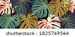 luxury gold leaves wallpaper... | Shutterstock .eps vector #1825769564