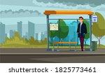 man waiting at bus stop. guy...