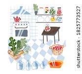 modern vintage kitchen interior ...   Shutterstock .eps vector #1825773527