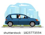 man driving car on road.... | Shutterstock .eps vector #1825773554