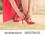woman in red skirt and summer... | Shutterstock . vector #182578151